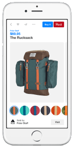 Pinterest Buyable Pin Showing Multiple Color Options